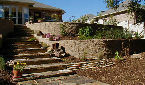 Brown Multi-tiered Retaining Wall