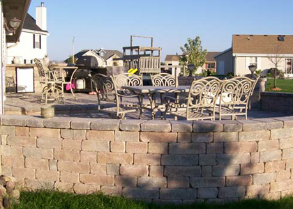 Patio stone wall